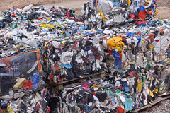 Garbage dump. Stacked plastic garbage at the recycling center Stock Images