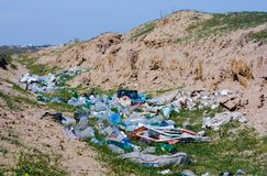 Garbage dump in the field Stock Photos