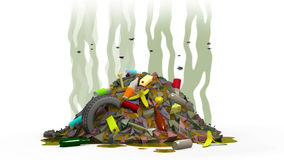 Garbage dump with flies, 3d illustration Royalty Free Stock Photography