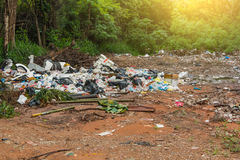 Garbage dump. In the green woods Stock Images