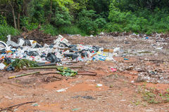 Garbage dump. In the green woods Stock Photo