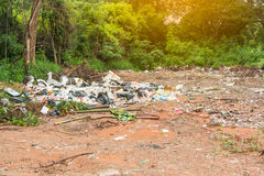 Garbage dump. In the green woods Royalty Free Stock Images