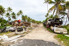 Garbage dump, landfill, Tuvalu, Polynesia, Oceania. Ecological, garbage management problems of island nations. Pollution. stock photos