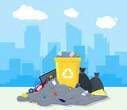 Garbage Dump or Landfill. Vector. Garbage Dump or Landfill on a Urban Landscape Background Symbol of Pollution Environment. Vector illustration Royalty Free Stock Images