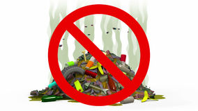 Garbage Dump in Prohibited sign, 3d illustration Royalty Free Stock Photo