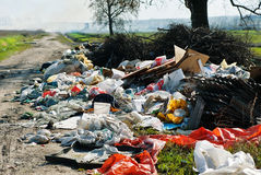 Garbage dump on the road Stock Photos