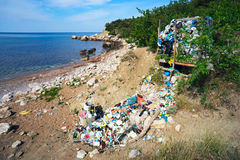 Garbage dump on the shores of the Black sea. Stock Photo