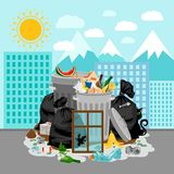 Garbage dump on urban landscape background. Garbage dump or landfill on a urban landscape background, vector illustration Stock Photo