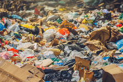 Garbage dump. Various trash and waste material, environmental pollution and ecology concept, selective focus Royalty Free Stock Images