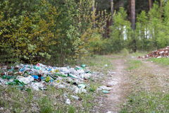 Garbage dump in the woods Royalty Free Stock Photography