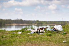 Garbage dump in the woods Stock Image