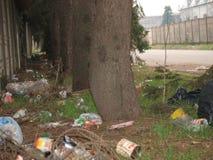 Garbage Dumped on Milan street Stock Photos