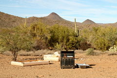 Garbage Dumped in Sonoran Desert. Garbage dumped in the Sonoran desert is photographed just north of Phoenix, Arizona, USA Stock Photography