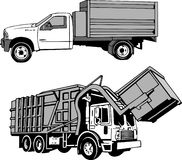 Garbage and Dumpster Truck. Picking up trash. Garbage pickup, haul away, scrap Stock Photo