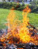 Garbage in fire, illegal garden burning out Stock Photo