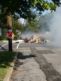 Garbage Fire in a Residential Neighborhood Royalty Free Stock Photos