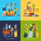 Garbage Flat Concept. Color flat concept showing garbage collection and waste processing vector illustration Stock Photo