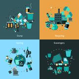 Garbage Flat Set. Garbage design concept set with dump recycling sorting scavengery flat icons isolated vector illustration Royalty Free Stock Photos