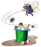 Garbage and flies Stock Image