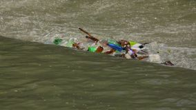 Garbage Floating In City River stock video