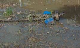 Garbage floating in river, Water pollution. Ecological problem, background Stock Image