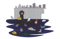 Garbage that flows through the sewer that came from the city, it made the fish unable to live Until it is water pollution. Concept flat style vector stock illustration