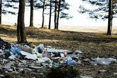 Garbage in forest Stock Photo