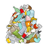 Garbage heap isolated. Pile Rubbish. Stack trash. Litter background. peel from banana and stub. Tin and old newspaper. Bone and packaging. Crumpled paper and royalty free illustration