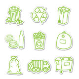 Garbage icon stickers Stock Photos