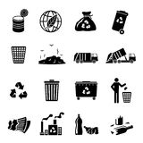 Garbage Icons Black. Garbage recycling icons black set of landfill trash truck dump isolated vector illustration Royalty Free Stock Photography