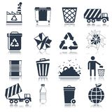 Garbage icons black Royalty Free Stock Photo