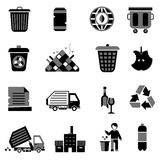 Garbage Icons Black Royalty Free Stock Images