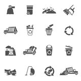 Garbage Icons Black Stock Photo