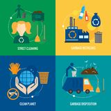 Garbage icons composition. Garbage disposition street cleaning recycling icons set isolated vector illustration Royalty Free Stock Photo