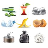 Garbage icons detailed vector set Stock Photos