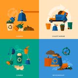 Garbage Icons Flat. Garbage design concept set with cleaning collect and recycling plant flat icons isolated vector illustration Stock Photos