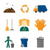 Garbage icons flat. Garbage recycling icons flat set of landfill truck gloves isolated vector illustration Royalty Free Stock Photography