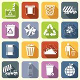 Garbage icons flat Royalty Free Stock Images