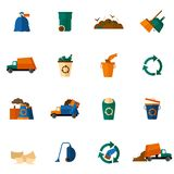 Garbage Icons Flat Stock Image
