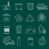 Garbage icons outline. Garbage recycling icons outline set of landfill truck bottle  vector illustration Royalty Free Stock Photography