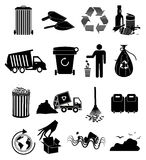 Garbage icons set Royalty Free Stock Photos