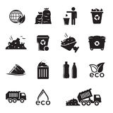 Garbage icons set. Black on a white background Stock Images