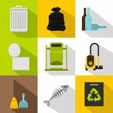 Garbage icons set, flat style Royalty Free Stock Image