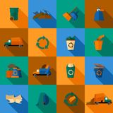 Garbage Icons Set. Garbage flat icons set with trash dump waste basket earth pollution isolated vector illustration Royalty Free Stock Photography