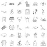 Garbage icons set, outline style Royalty Free Stock Photo