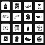 Garbage icons set in simple style Stock Photography