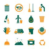 Garbage icons set. Garbage trash cleaning recycling environmental symbols icons set isolated vector illustration Stock Photography