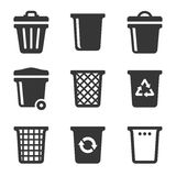 Garbage Icons Set on White Background. Vector Royalty Free Stock Images