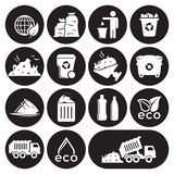 Garbage icons set. White on a black background Royalty Free Stock Photography