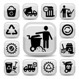 Garbage icons. Vector Garbage And Cleaning Icons Set Created For Mobile, Web And Applications Stock Images